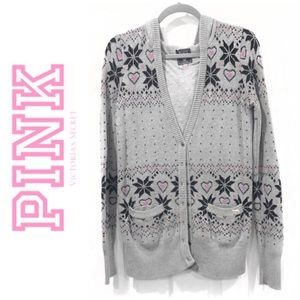 Pink Victoria's Secret Fair Isle Cardigan Small